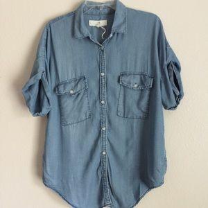 Light Blue Short Sleeve Dual Pocket Denim Shirt